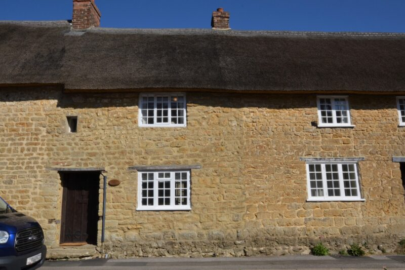 Looking towards the front of the charming thatched cottage