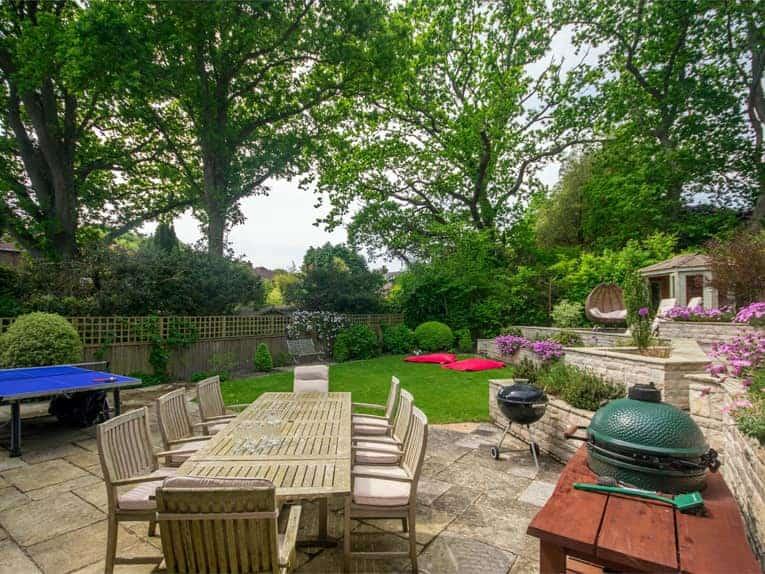 The wonderful rear garden at Heath Lodge