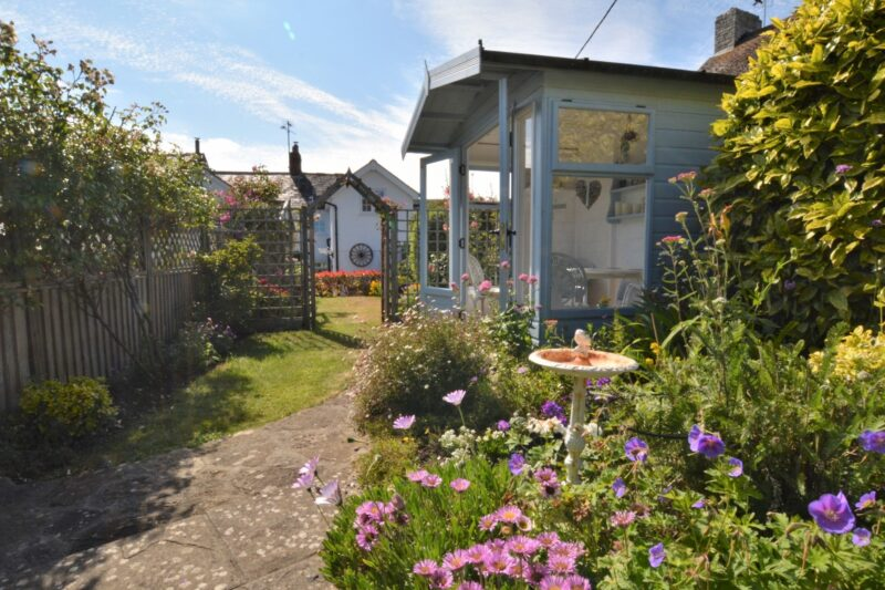 Looking towards the cottage from the pretty cottage garden