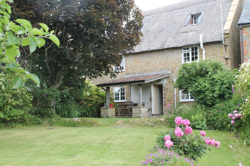 Looking towards the cottage from the large enclosed garden