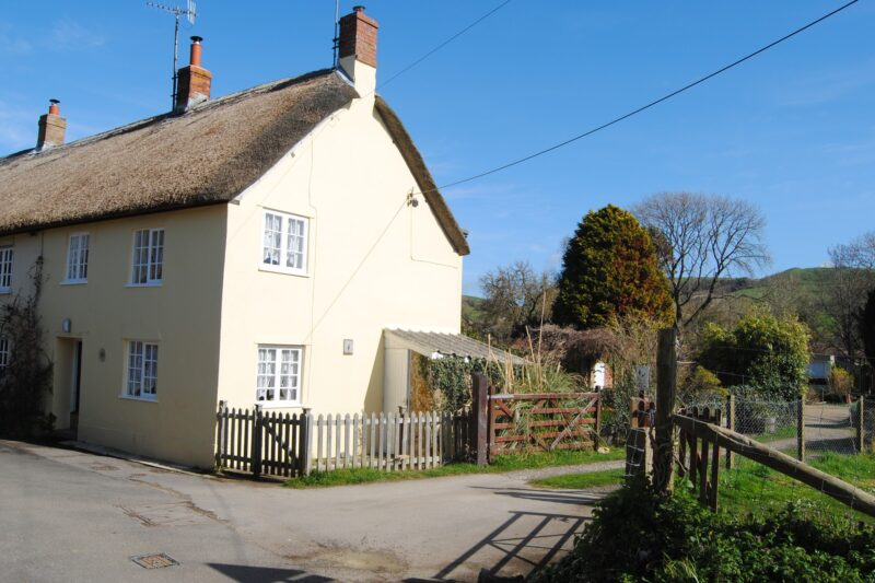Looking towards the thatched cottage